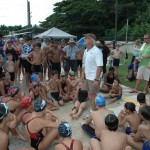 FINA Rep and coach,  Rick Powers,  conducted a 30-minute clinic for swimmers during this Saturday's Short Course meet.  Photo courtesy of Sid Lasala, AAFB Marlins Swim Club.